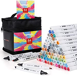 84 Colors Alcohol Markers Dual Tip Sketch Alcohol Art Markers for Adults Drawing, Coloring and Illustration, Ideal Gift for Kids, Beginners