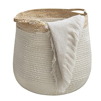 Durable Cotton Linen Storage Basket Container Box Home Organizer Bag Decor