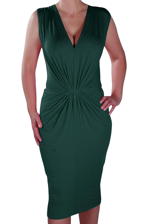 Iris Ladies V Neck Bodycon Ruched Stretch Ladies Dress