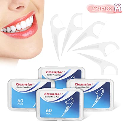 Hilo Dental Cleanstar Seda de Dientes 240 Piezas Dental Floss Picks para Interdental Oral Limpieza Dientes