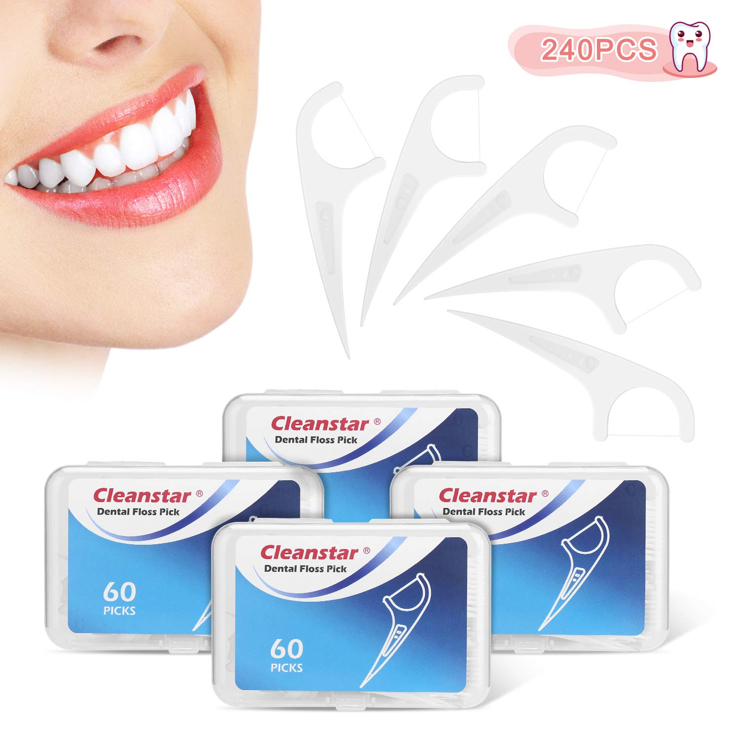 Cleanstar Floss Picks Unflavored Dental Floss Picks with 4 Travel Handy Cases | 240 Counts Pro-Health FlossPicks | Toothpick for Kid & Household &Travel 60 Pcs/4 Boxes by YISSVIC (Image #1)