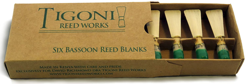 Tigoni Bassoon Reed Blanks (Six) (Med. Hard) Tigoni Reed Works 4334414622