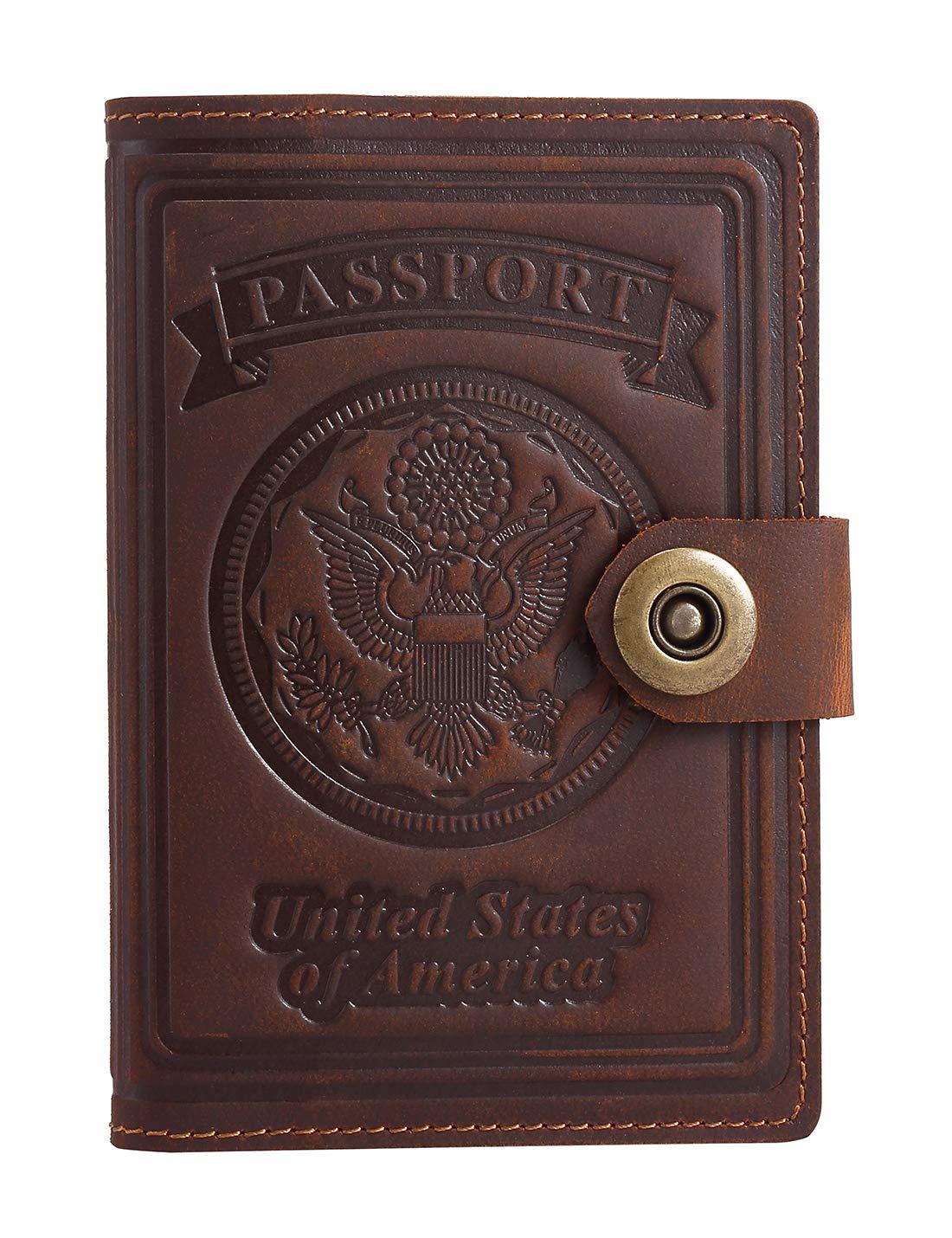 Schumarson Passport Holder Genuine Leather Passport Wallet Passport Cover Bifold Travel Wallet