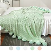 ZHIMIAN Reversible 100% Cotton Knit Throws Pompoms Fringe Solid Hypoallergenic Blanket(39  WX59 L Aqua)