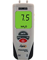 Supco DDM55 Dual Input Digital Differential Manometer with LCD Display,-55 to 55-Inch H20 Measuring Range, 0.01-Inch Resolution, Battery Operated