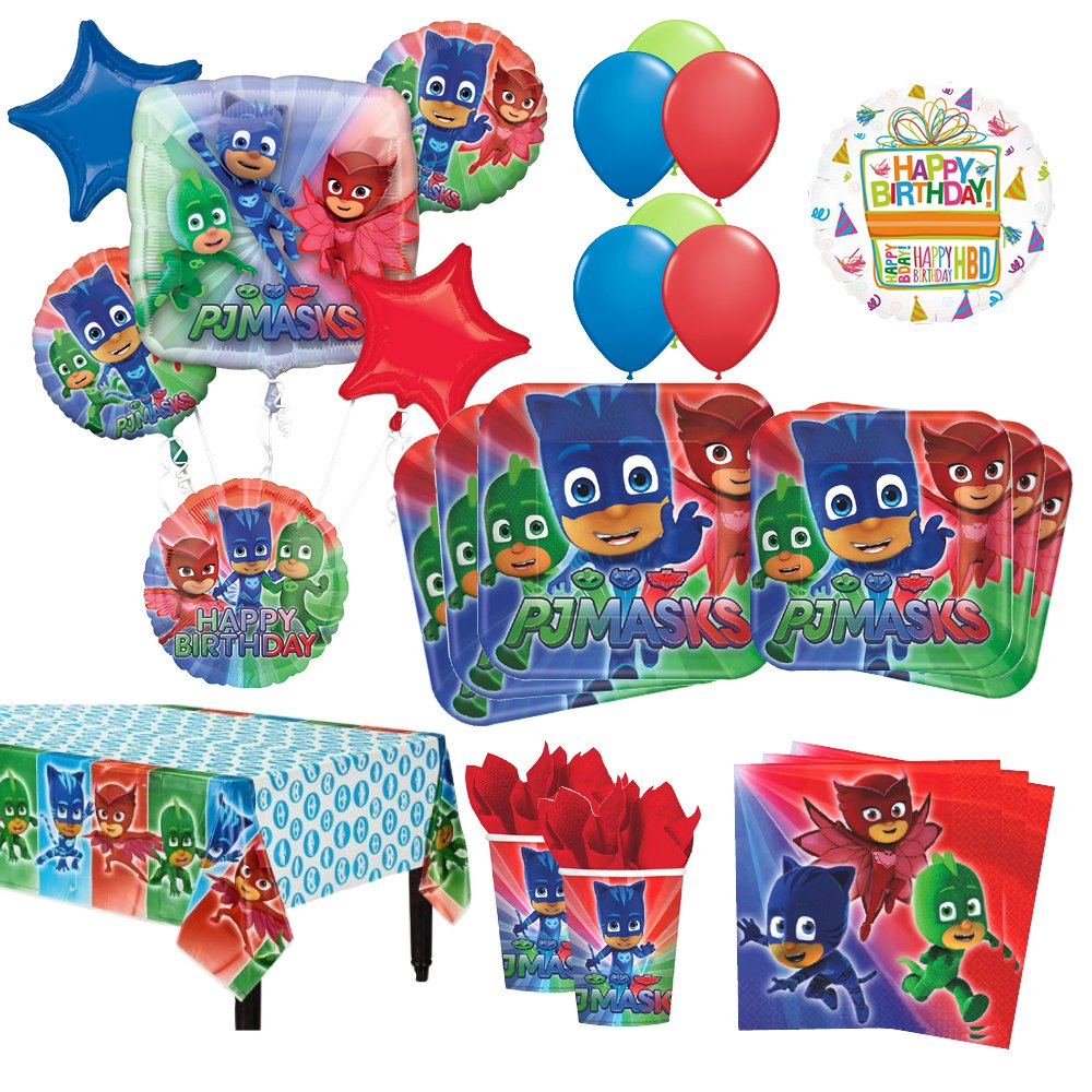 Mayflower Products PJ Masks Birthday Party Supplies 16 Guest Kit and Balloon Bouquet Decorations 95pc
