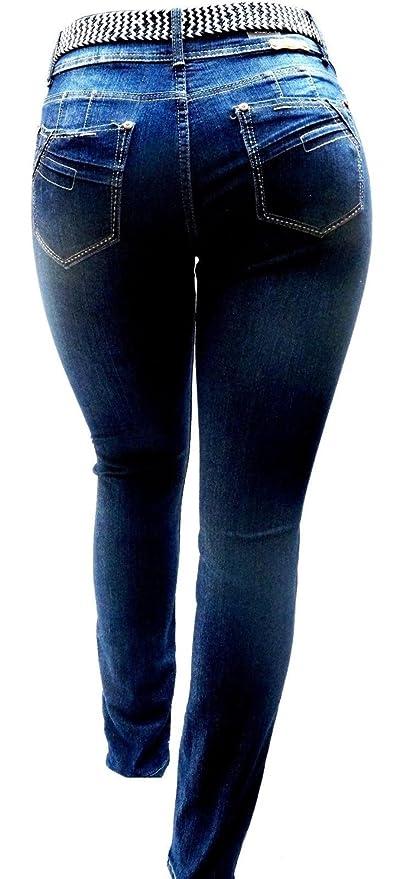 Amazon.com: beh Azul Oscuro Cintura Alta Para Mujer Plus ...