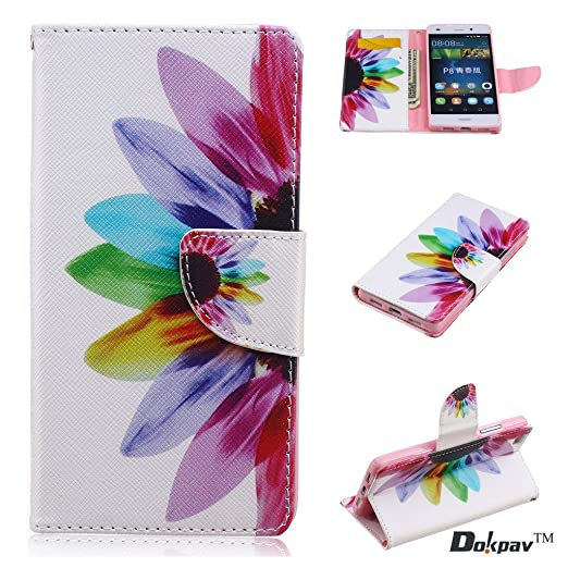 25 opinioni per Dokpav® Huawei P8 Lite Custodia, Ultra Slim Sottile Flip Pelle PU Case Cover Con