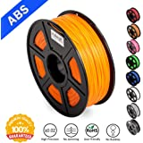 ABS Filaments for 3D Printer-SUNLU Orange ABS Filament 1.75 mm,Low Odor Dimensional Accuracy +/- 0.02 mm 3D Printing Filament,2.2 LBS (1KG) Spool 3D Printer Filament for 3D Printers & 3D Pens,Orange
