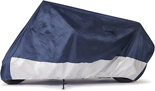 """Budge Sportsman Motorcycle Cover, Navy/White, Water-Resistant, Universal Fit, Fits up to 86"""", Medium (MC-4)"""