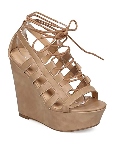 82298db1fb50 Wild Diva Women Leatherette Open Toe Gilly Tie Corset Wedge Sandal EF86 -  Natural (Size