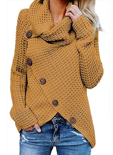 f344139c65bb Aleumdr Jersey de Punto de Invierno Suéter de Cuello Alto Jerséis Casual  para Mujer Mujer Size S-XXL