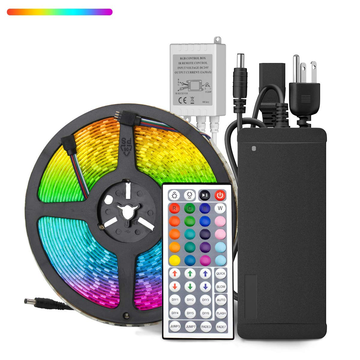 HOMELYLIFE 32.8ft RGB LED Strip Lights Super Bright Waterproof 600 LED SMD 5050 Tape Light Color Changing Full Kit with 44 Keys IR Remote Control+24V Power Supply LED Lighting for Party Kitchen Indoor by HOMELYLIFE (Image #1)