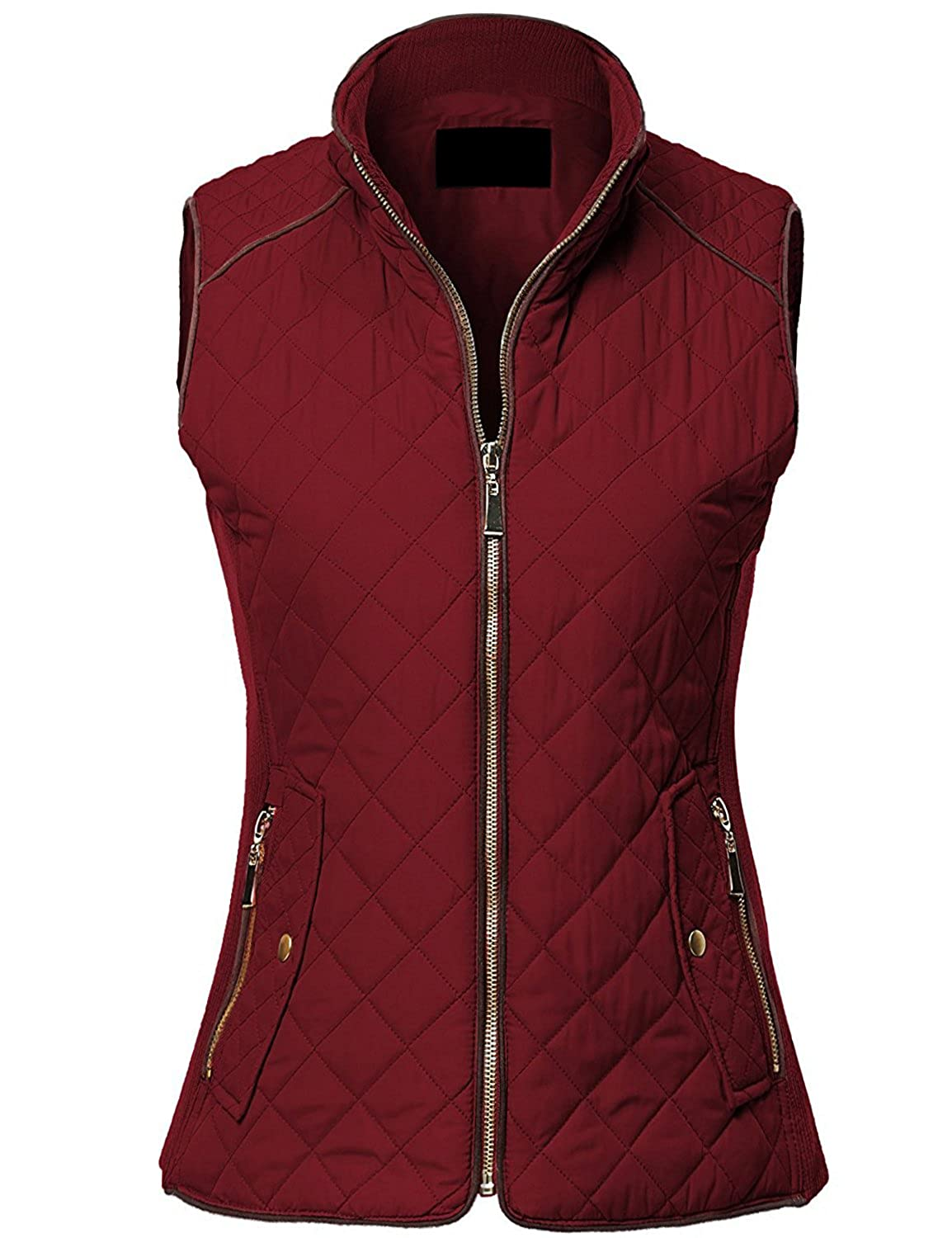 MAYSIX APPAREL Quilted Padding Vest With Suede Piping Details Sizes From S-3XL