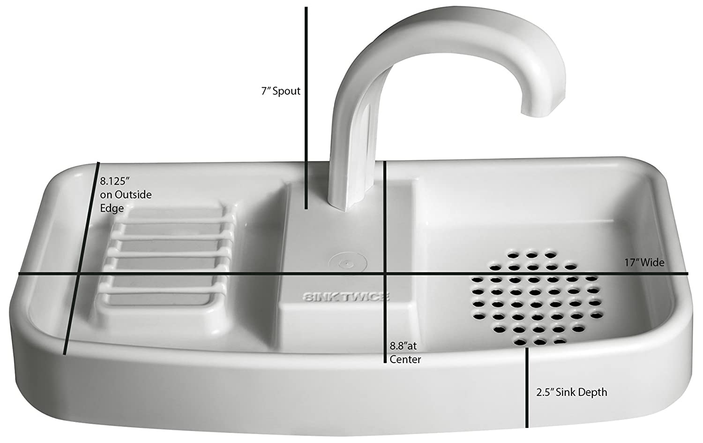 Sink Twice 33-43 cm Single Flush