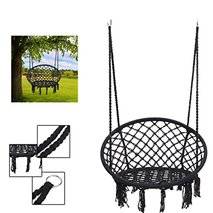 Tradico Outdoor Hanging Hammock Woven Rope Chair Seat Indoor Bedroom Children Round Swing Bed