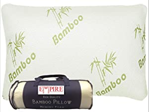 Empire Home Hypoallergenic Cool Bamboo Pillow - Shredded Memory Foam Fill with Zipper for Easy Cleaning - Queen Size