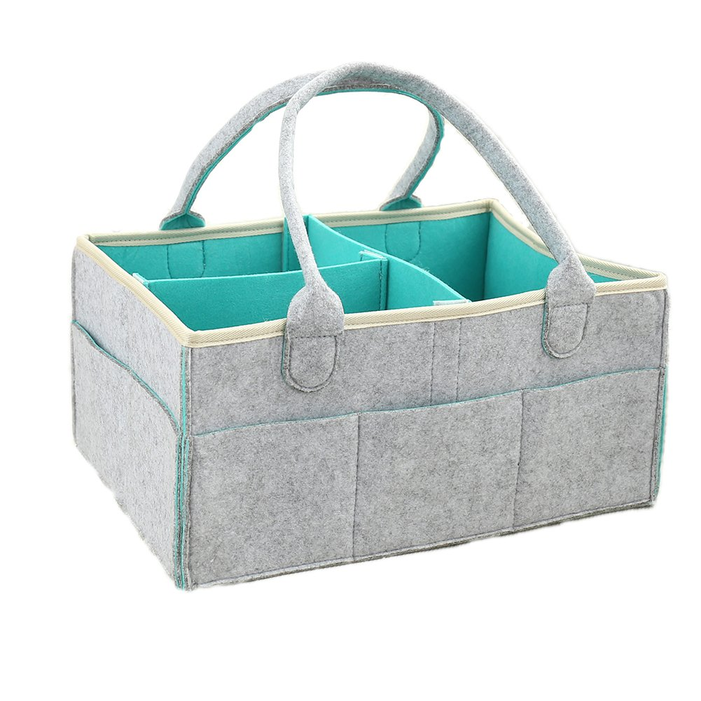 Baby Diaper Caddy Organizer,Nursery Diaper Caddy Storage Bin with Removable Compartments,Large Grey Felt Travel Diaper Bag for Baby Shower Gift 15'' (L) X 10.5''(W) X 7''(H)