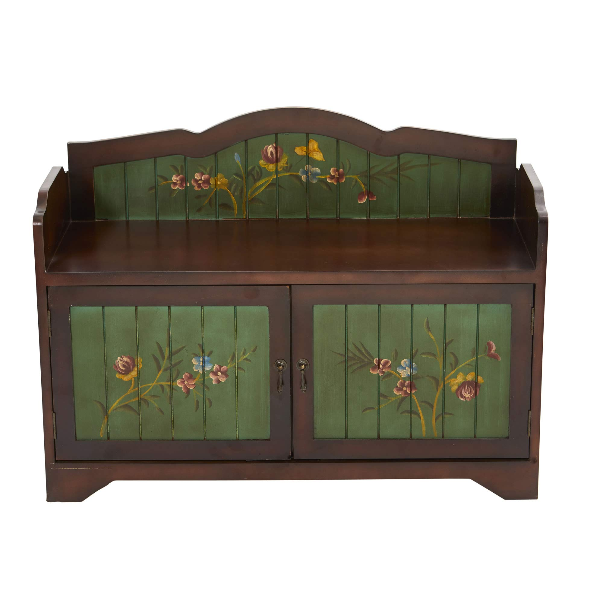 GREATHOPES 36'' Antique Floral Art Bench with Drawers Decoration Silk Flowers