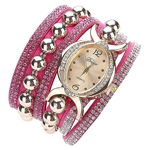 Rhinestone Bracelet Watch, Reloj de Moda de Lujo a la Venta Liquidación Relojes para Mujer Relojes de Pulsera para Mujeres (Rosa Caliente): Amazon.es: ...