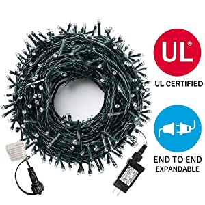 MZD8391 105 FT 300 LEDs Christmas Lights Outdoor Indoor Fairy String Lights 8 Modes Memory Function For Christmas Tree Wedding Party Decoration Warm White - 100% UL Listed (SUPPORT 4 SETS CONNECTABLE)