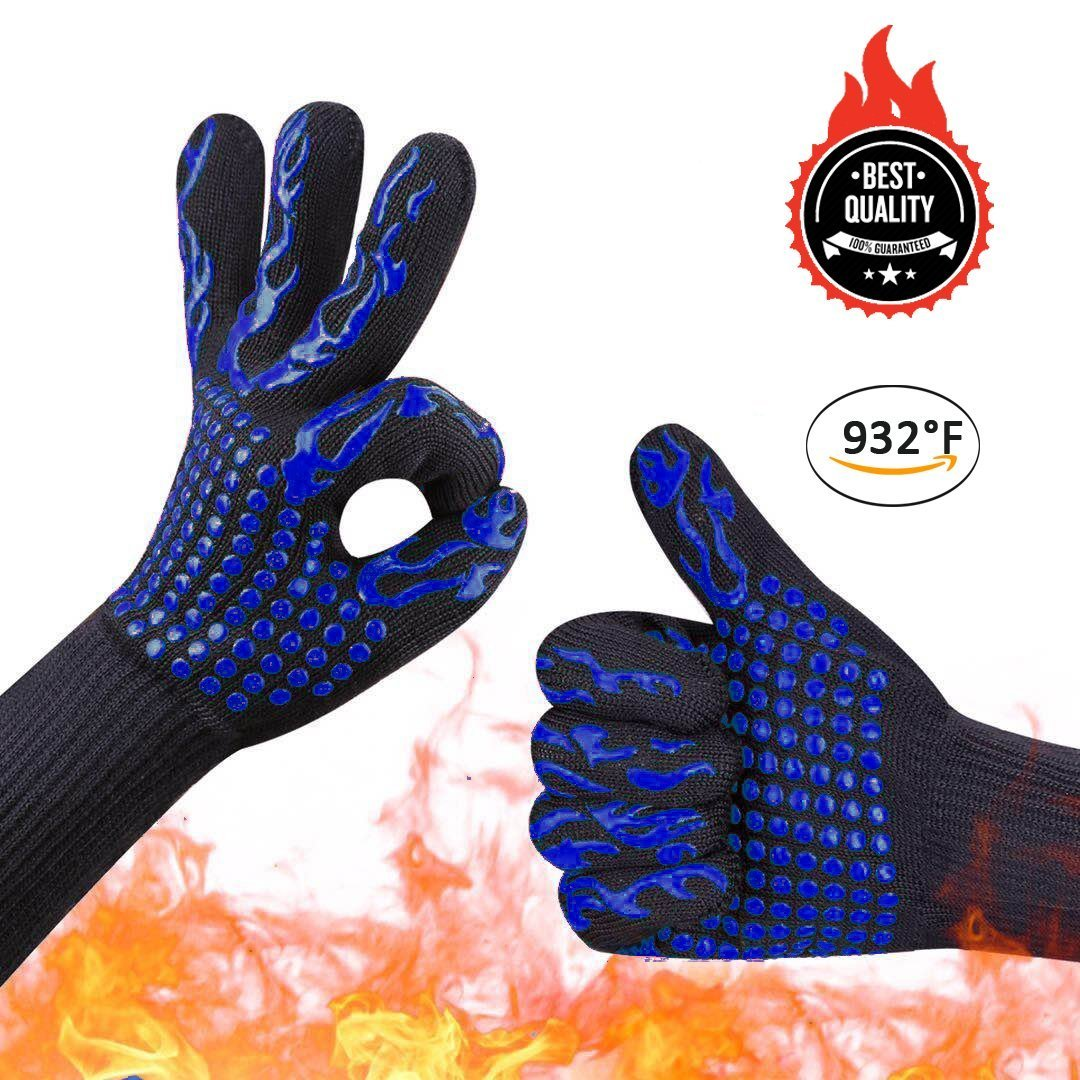 Awekris Extreme Heat Resistant Oven Gloves, BBQ Grilling Gloves With Silicone Grips, Oven Mitts, FirePlace Gloves, Pot Holders - Best For Grilling, Baking, Cooking, Camping, Blue, One Size Fits Most