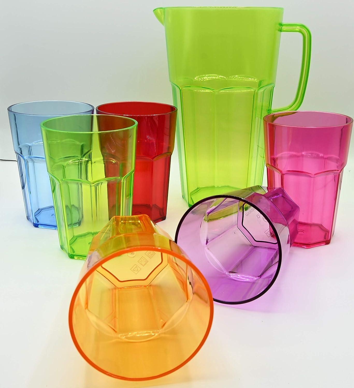 ML Pack 6 Vasos de 444ml de Colores y 1 Jarra de 2l de Agua plastico Reutilizable/inastillable, Duro, vajilla, Tazas, Copas, Vaso, niños, Infantiles, de Agua, cóctel, Fiesta