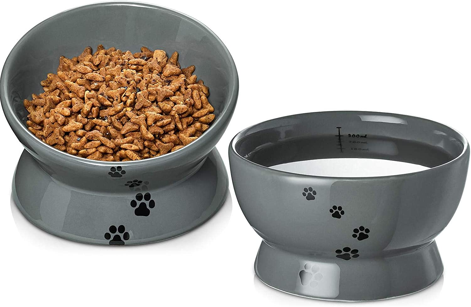 Y YHY Raised Cat Food and Water Bowl Set, Tilted Elevated Cat Food Bowls Anti Vomiting, Ceramic Cat Food Feeder Bowl Collection, Pet Bowl for Flat-Faced Cats and Small Dogs, Set of 2, Grey