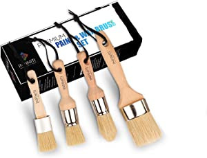 4 PC Professional Chalk and Wax Paint Brush Set!!!! Large DIY Painting and Waxing Tool   Smooth, Natural Bristles   Folk Art, Home Décor, Wood Projects, Furniture, Stencils   Reusable