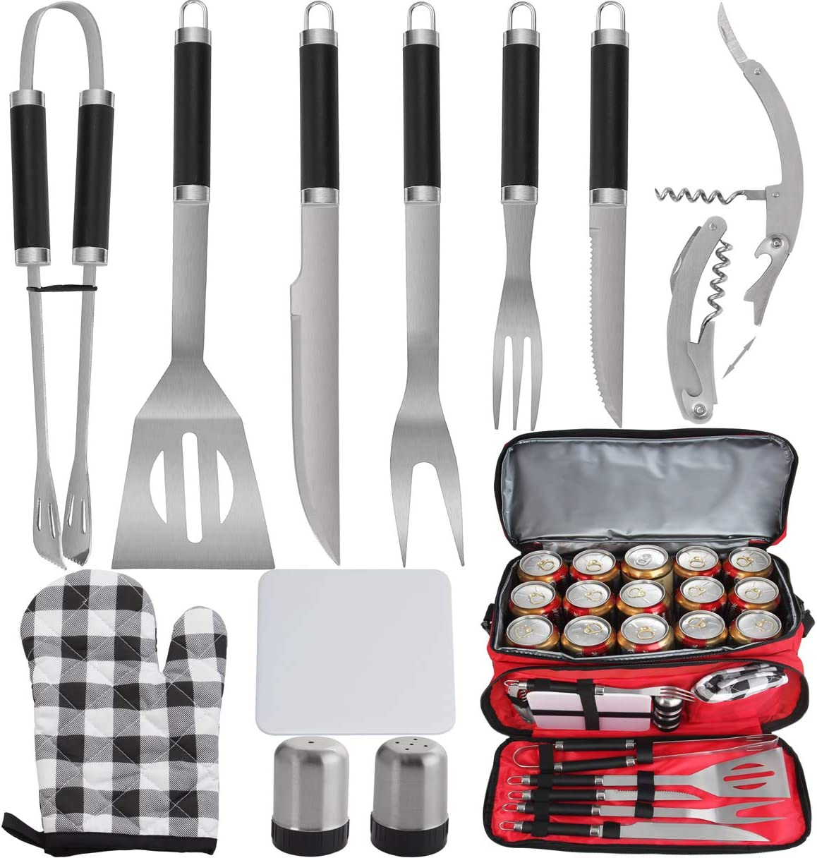 POLIGO 12pcs Stainless Steel BBQ Grill Tools Set with Red Insulated Waterproof Cooler Bag - Premium Barbecue Grill Accessories for Father's Day Birthday Presents Ideal Grilling Gifts for Dad Men Women