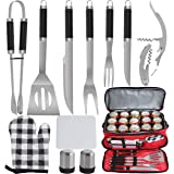 POLIGO 12PCS Barbecue Tools Stainless Steel BBQ Grill Accessories Set with Red Cooler Bag for Camping - Premium Grill Utensil
