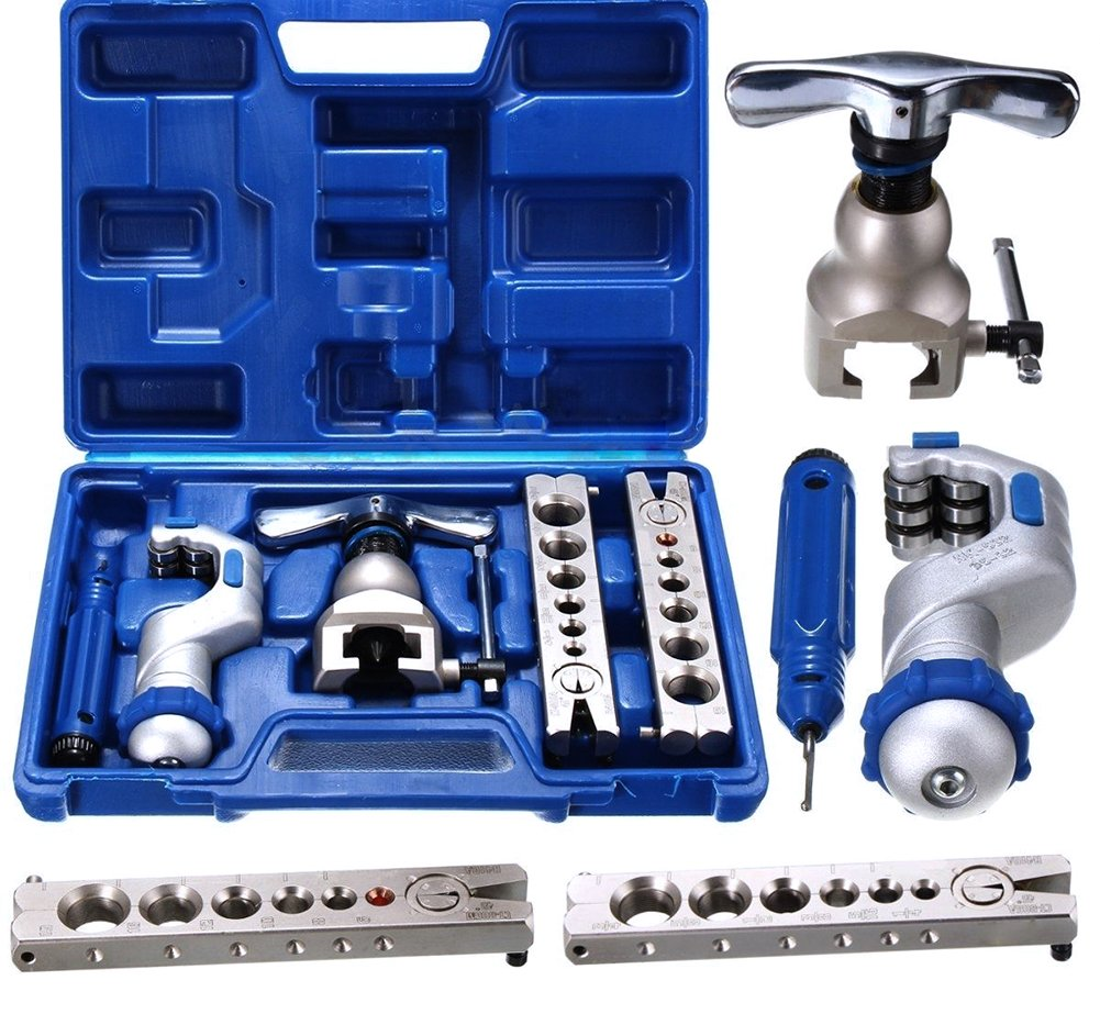 Hestio Ratchet Flaring Flare Tool Kit R410A Refrigeration Eccentric Cone + Pipe Cutter
