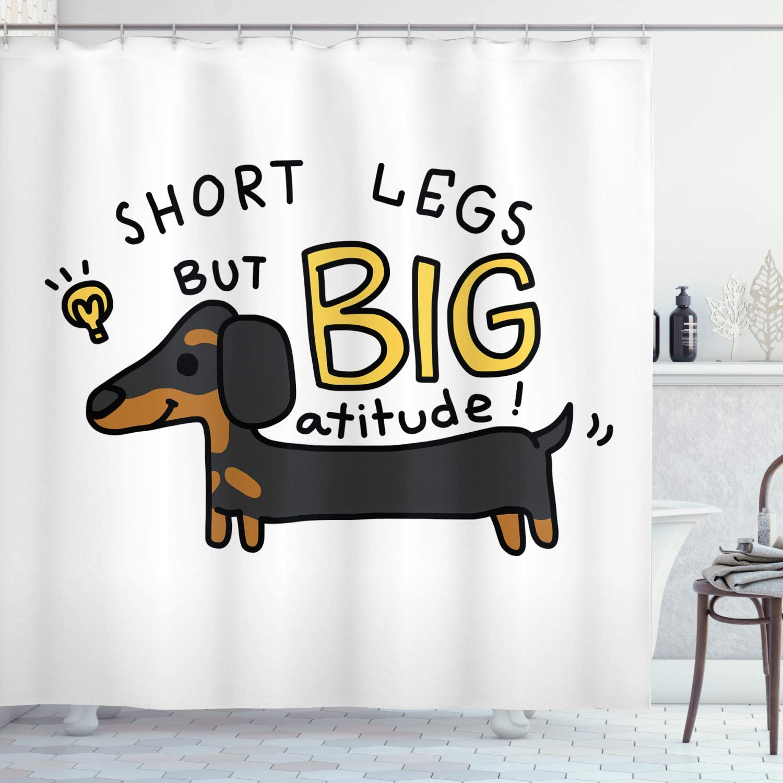 Dachshund Shower Curtain Short Legs But Big Attitude Text Dachshund Puppy Dark Grey Mustard Charcoal Grey and Caramel Christmas Waterproof Polyester Fabric Shower Curtain 66x72 Inches