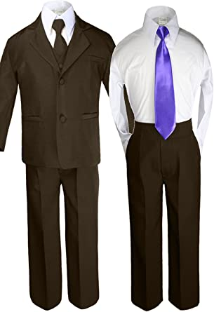 6pc Boy Baby Teen BROWN Formal Tuxedo Suits set extra IVORY Satin Necktie SM-12