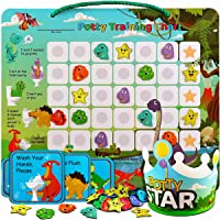 Potty-Training-Chart-with-35 Reusable Magnetic-Stickers. A Dinosaur Potty Chart that Reward Toddlers – Motivational…