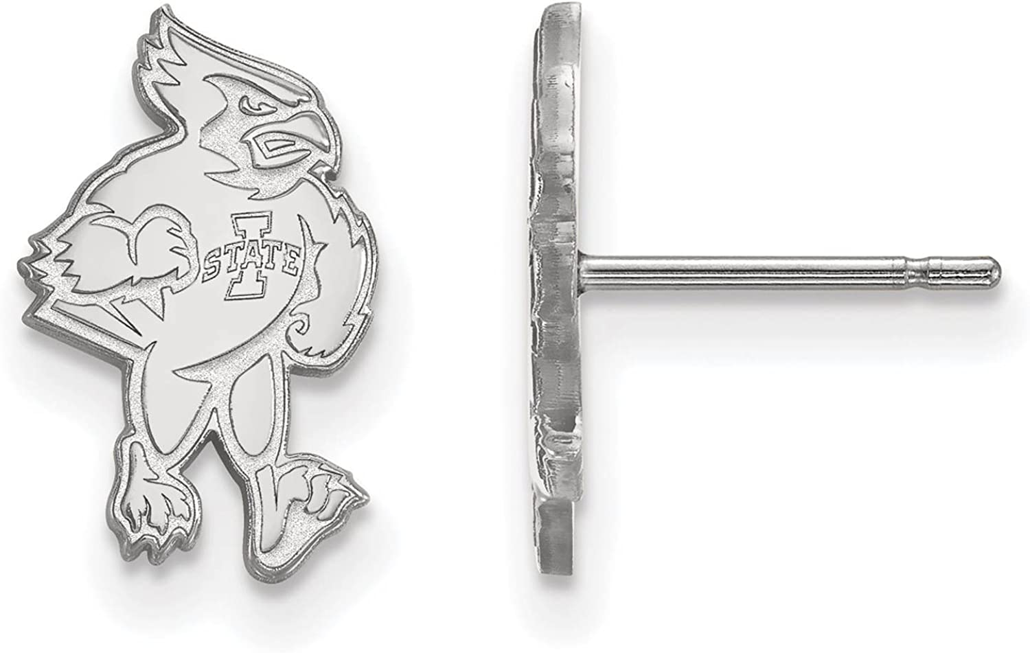 925 Sterling Silver Rhodium-plated Laser-cut Iowa State University Small Post Earrings