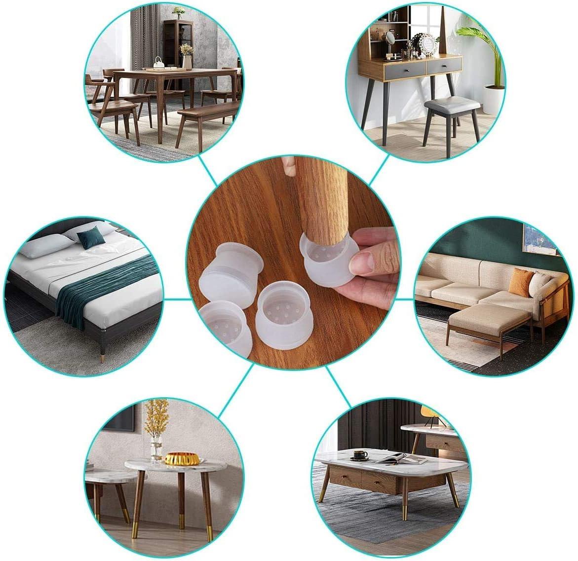 Cubierta de protecci/ón de Silicona para Muebles para Patas de Silla 36 Piezas de Tapas de Patas de Silla de Silicona para pies de Mesa de Muebles Redondos Transparencia