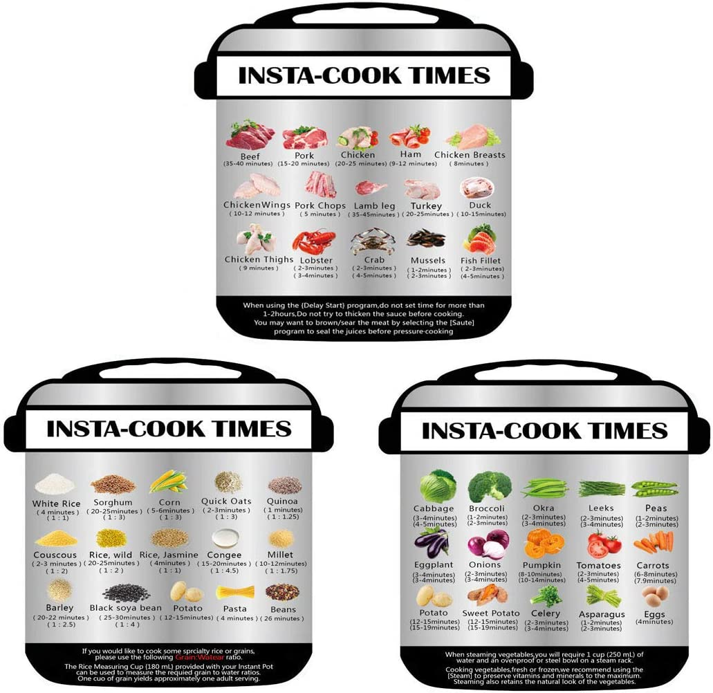 W.K.Y Magnetic Cheat Sheet-Instant Pot Accessories,Colored Textual Description and Food Images Cooking Times for 45 Common Prep Functions, It applies to more than 2.5Qt instant pot(3 Pcs)