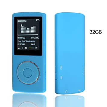 HccToo Music Player 32GB Portable Lossless Sound MP3 45 Hours Playback Blue