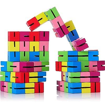 9 Piezas de Bloques de Giro y Bloqueo Mini Puzzle de Fidget Rompecabezas Flexibles de Madera Estirables para Las Persona Inquieta o Favores de Fiesta: Juguetes y juegos