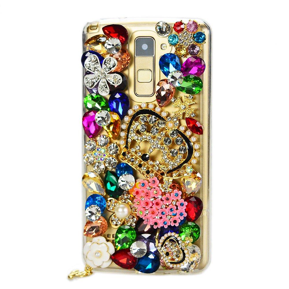 STENES LG X Venture/LG X Calibur/LG V9 Case - 3D Handmade Luxury Crystal Crown Dance Flowers Girl Flowers Floral Sparkle Rhinestone Design Cover Bling Case with Retro Dust Plug - Colorful