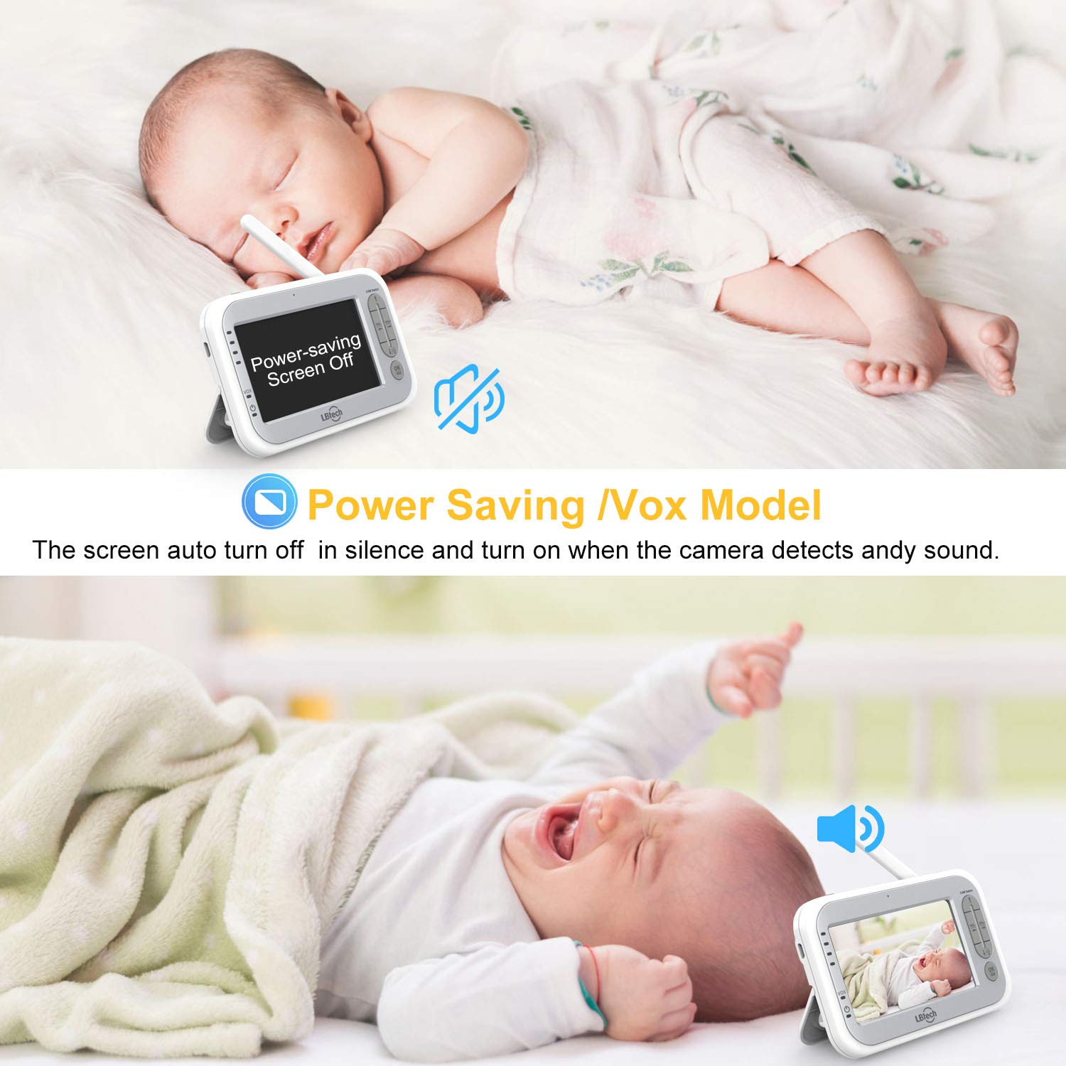 LBtech Video Baby Monitor with Two Cameras and 4.3'' LCD,Auto Night Vision,Two-Way Talkback,Temperature Detection,Power Saving/Vox,Zoom in,Support Multi Camera by LBtech (Image #6)
