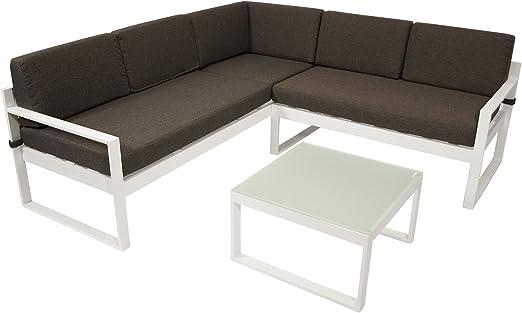 DEGAMO ARESE - Conjunto de muebles de jardín (aluminio y plástico, 192 x 192 cm, con cojines), color blanco y gris oscuro: Amazon.es: Jardín