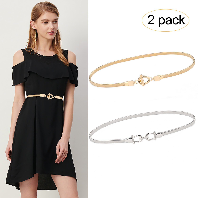 Women Elastic Skinny Waist Belt Metal Stretchy Chain Dress Belts for Women Girls 2 Pack Gold Silver By JASGOOD