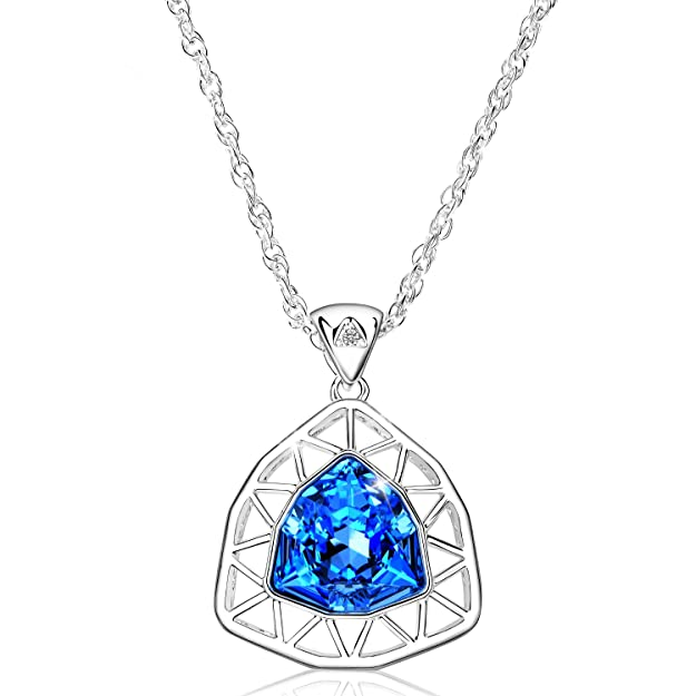 Alantyer Birthstone Necklace Made with Swarovski Crystal, Jewelry for Women, Best Mother's Day Valentine's Day Gift (Aquamarine Blue)