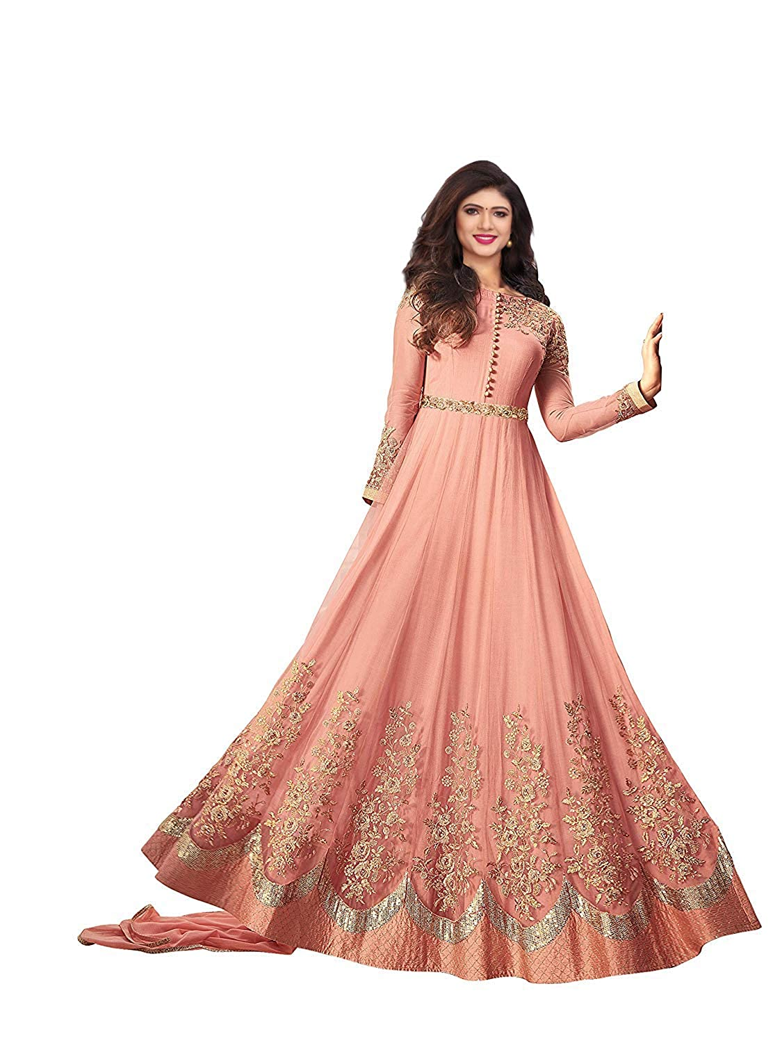 Royal Export Women's Net Floor length Party Wear Readymade Gown