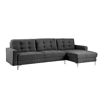 BHD Anais – Divano angolare Moderno – Design capitonné – Tessuto – in L –  276 x 138 x 96 cm Moderno Grigio Antracite