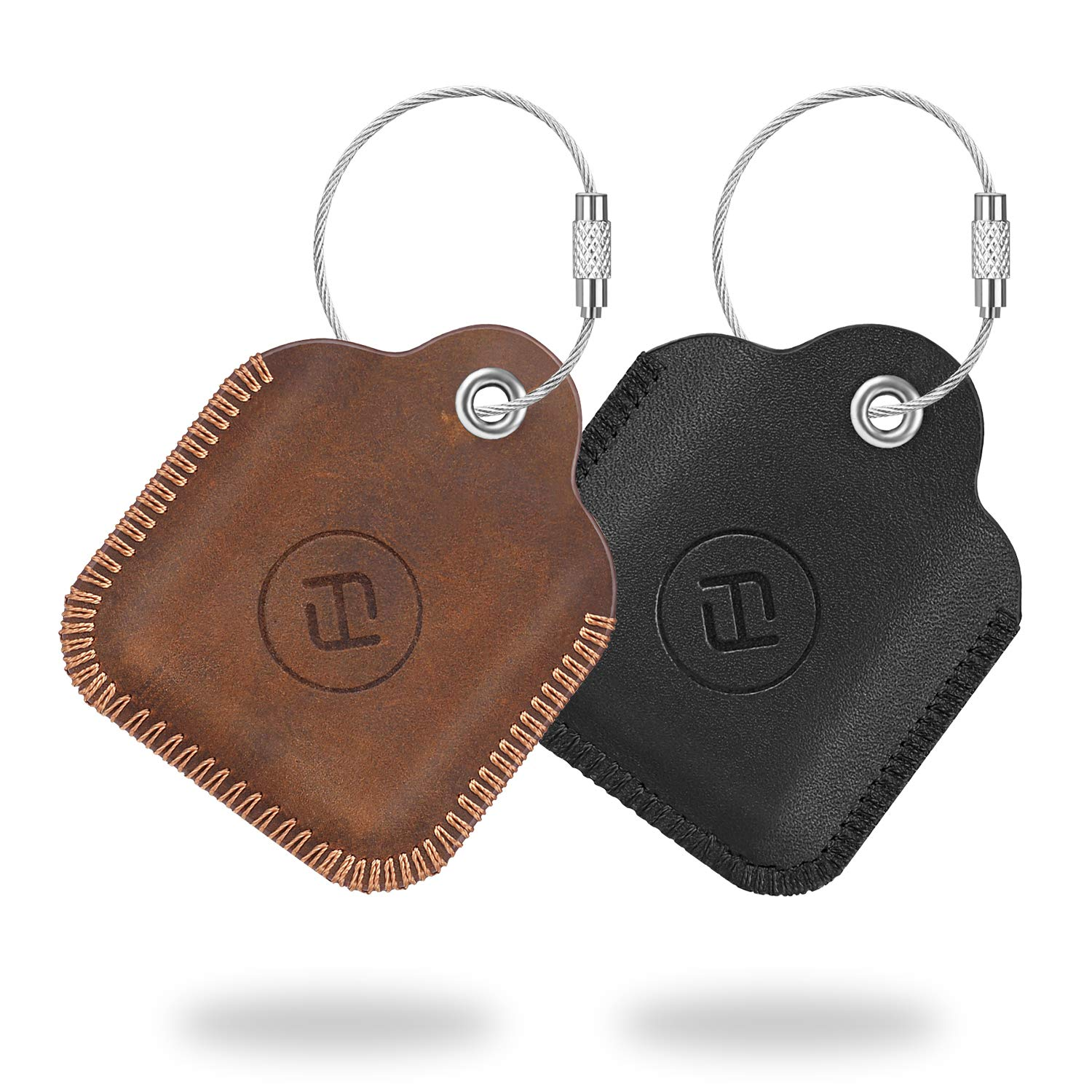 [2 Pack] Fintie Genuine Leather Case for Tile Mate (2020 & 2018 & 2016) / Tile Pro (2020 & 2018)/ Tile Sport/ Tile Style Key Finder Phone Finder, Anti-Scratch Protective Skin Cover with Keychain by Fintie