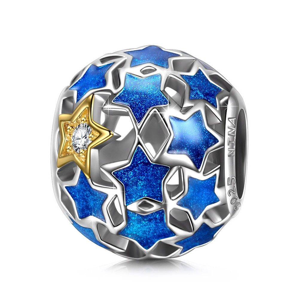 NINAQUEEN Starry Night 925 Sterling Silver Blue Stars Openwork Bead Charm for Pandöra Bracelets Necklace Birthday Anniversary Christmas Birthday Back to School Pendant Gifts for Teen Girls Women Mom