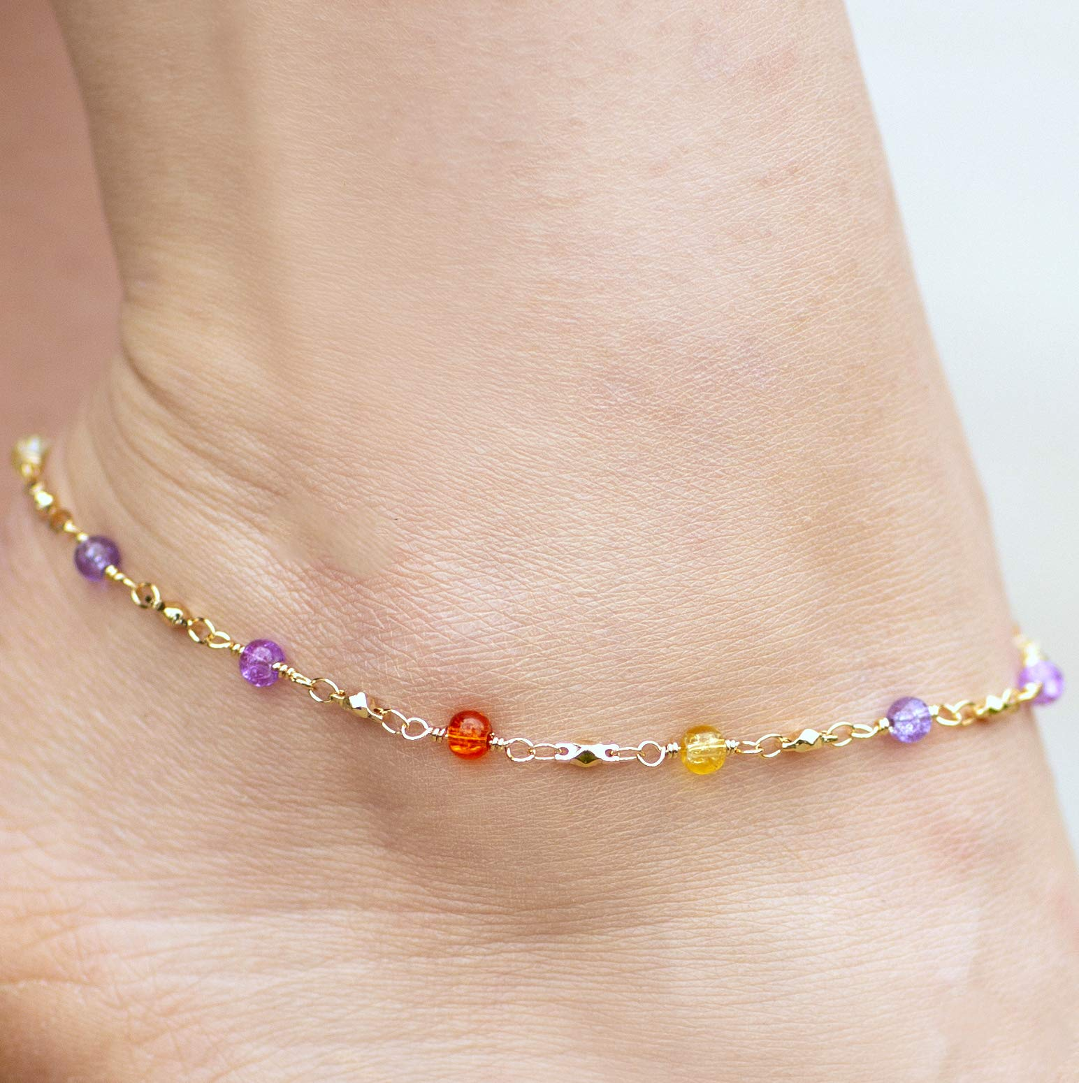 Lifetime Jewelry Ankle Bracelets for Women & Teen Girls [ Durable & Cute Colorful Balls Gold Anklet ] up to 20x More 24k Plating Than Other Foot Jewelry - Lifetime Replacement Guarantee (11.0) by Lifetime Jewelry (Image #5)